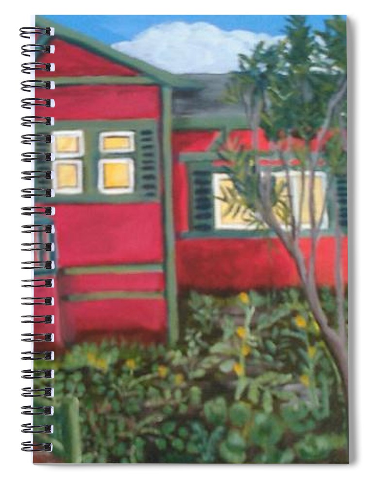 Painting Of House Spiral Notebook featuring the painting Fresh yard by Andrew Johnson