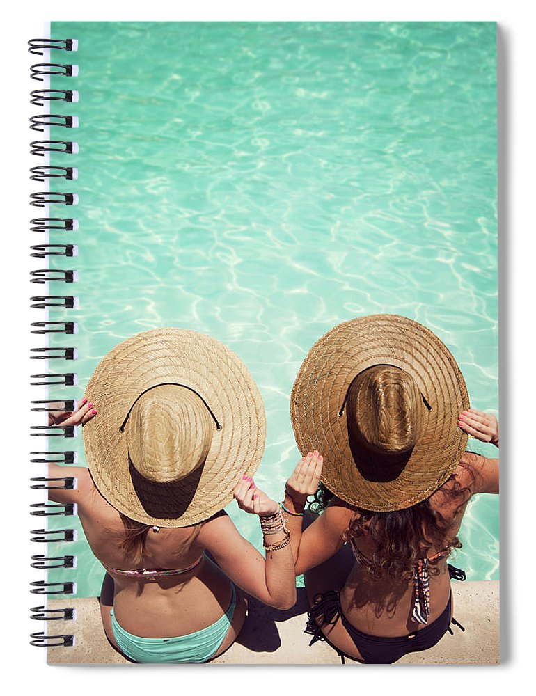 Fedora Spiral Notebook featuring the photograph Friends By The Pool by Becon