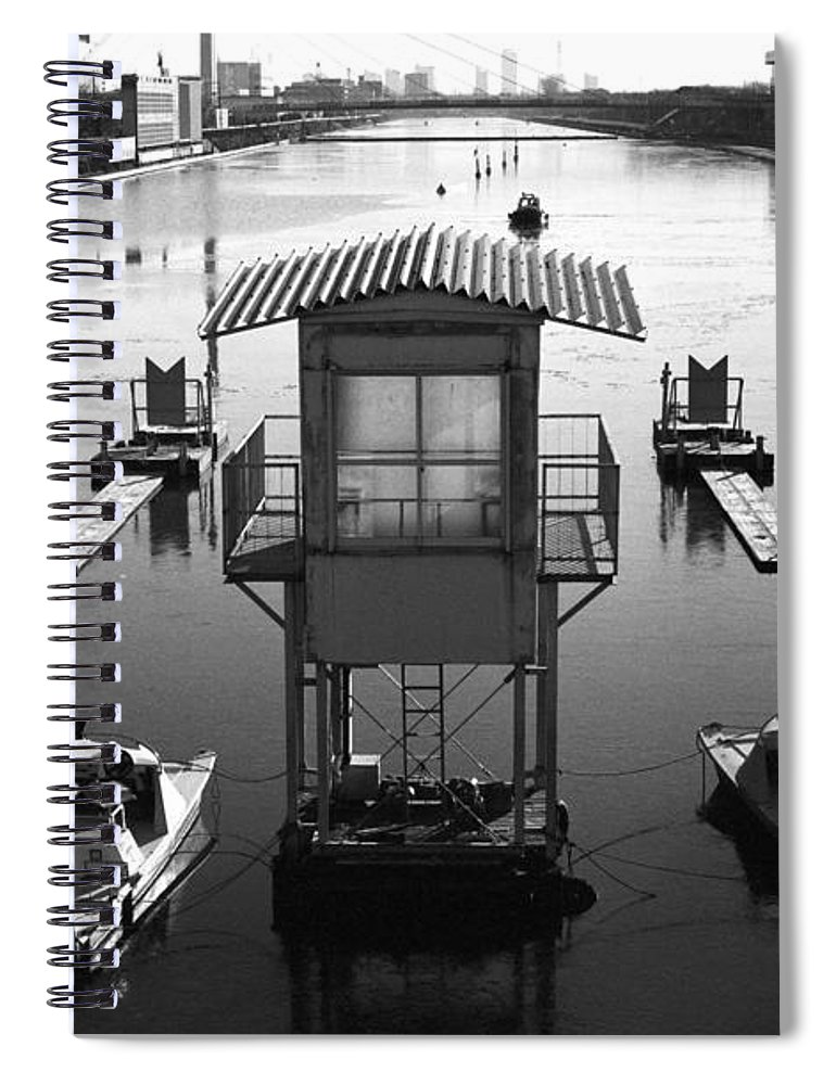 Standing Water Spiral Notebook featuring the photograph Frozen Boat Course by Huzu1959