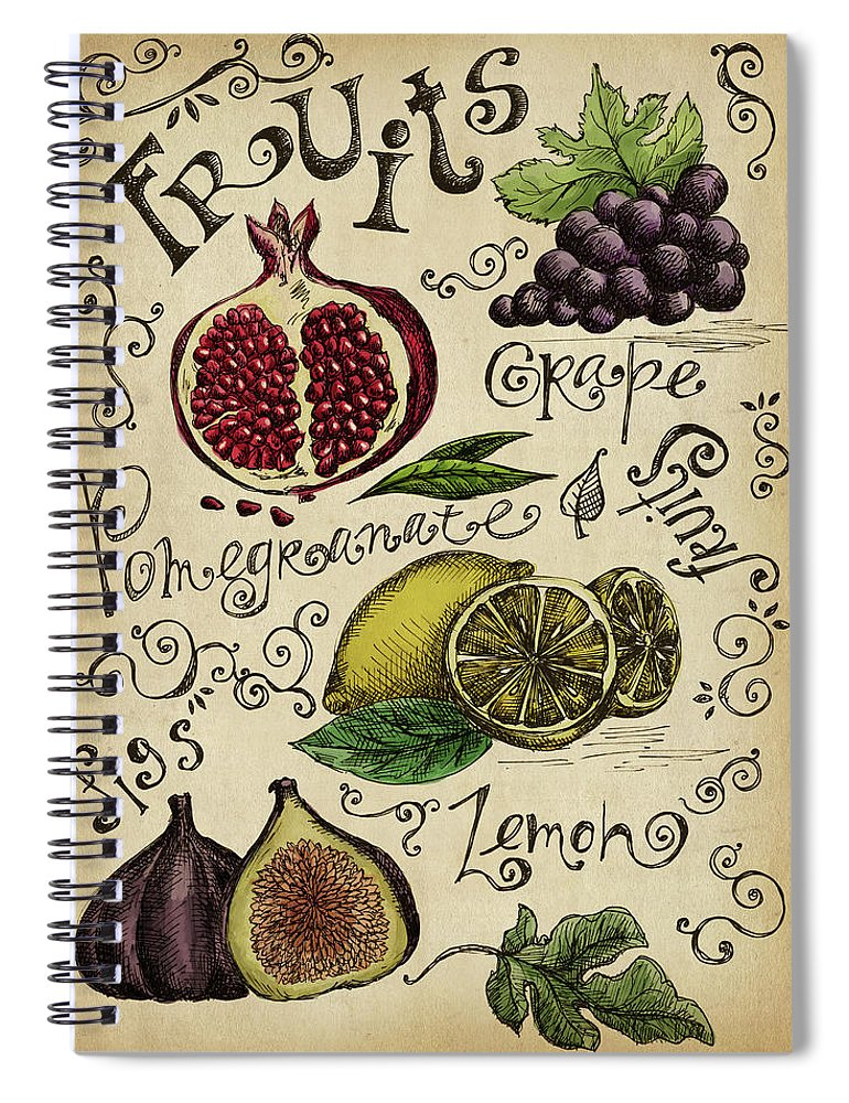 Doodle Spiral Notebook featuring the digital art Fruits by Kalistratova