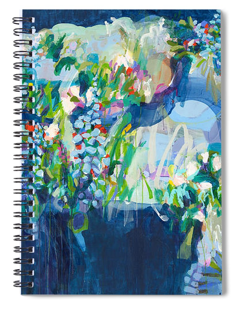 Abstract Spiral Notebook featuring the painting Full Bloom by Claire Desjardins