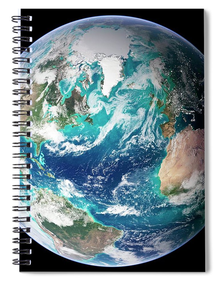 Topography Spiral Notebook featuring the digital art Full Earth, Close-up by Science Photo Library - Nasa Earth Observatory