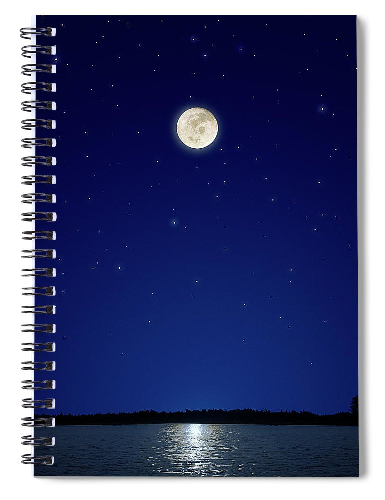 Constellation Spiral Notebook featuring the photograph Full Moon Over New Hampshire by Soubrette