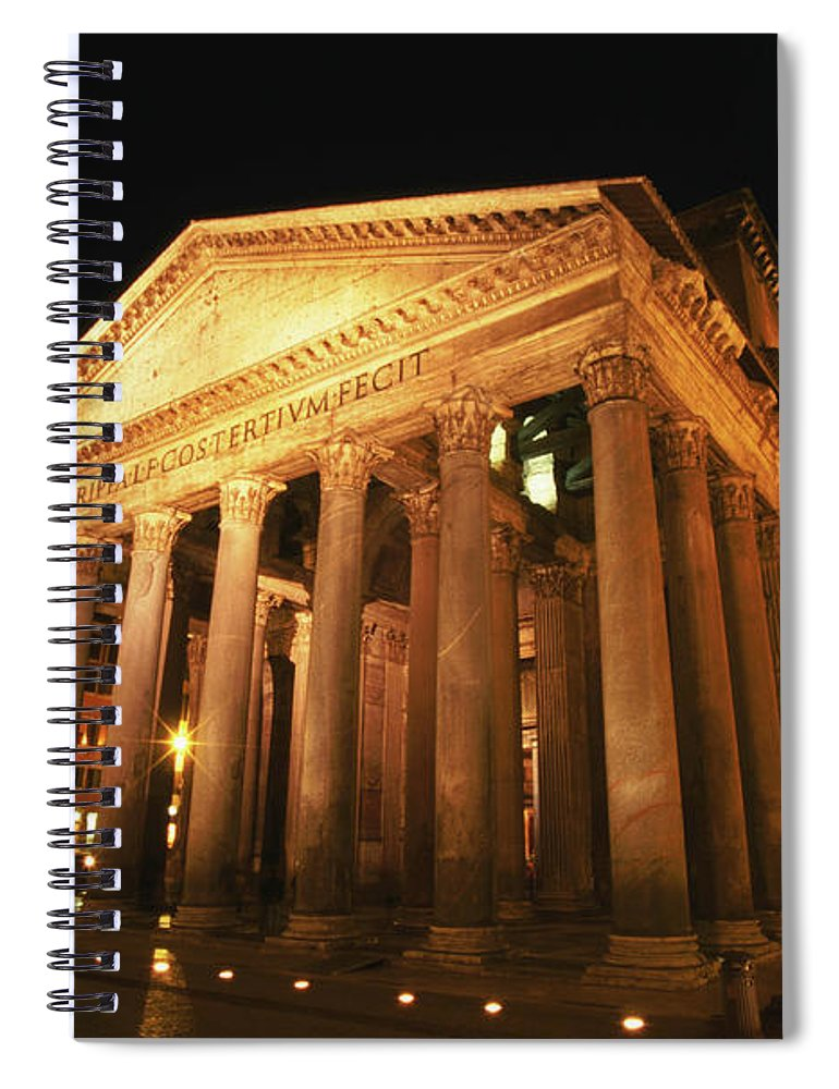 Pantheon Spiral Notebook featuring the photograph Full Moon Over Pantheon And Portico by Lonely Planet