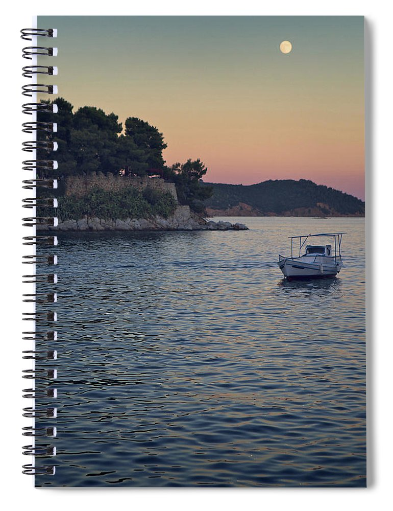 Tranquility Spiral Notebook featuring the photograph Full Moon Rising by Dreaming For A Living