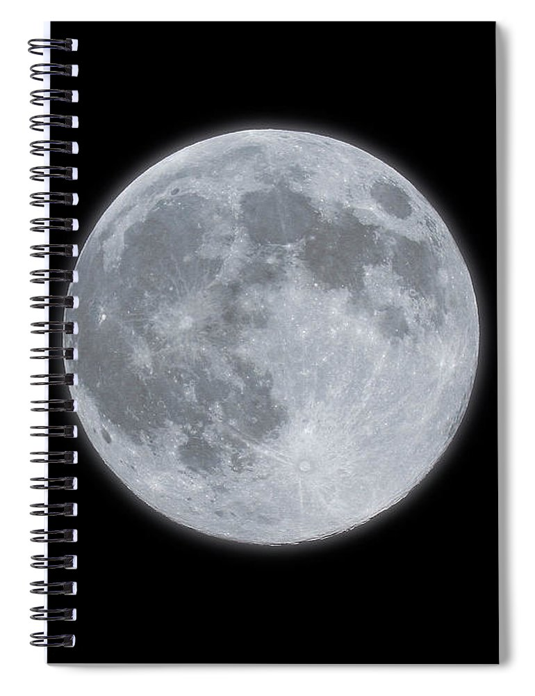 Sky Spiral Notebook featuring the photograph Full Moon With Glow by Banksphotos