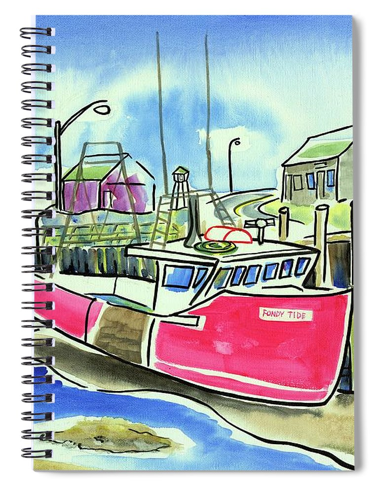 Red Boat Spiral Notebook featuring the painting Fundy Tide Hall's Harbour by Kevin Cameron