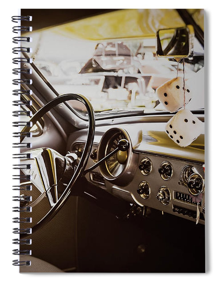 Vehicle Spiral Notebook featuring the photograph Fuzzy Dice by Scott Norris