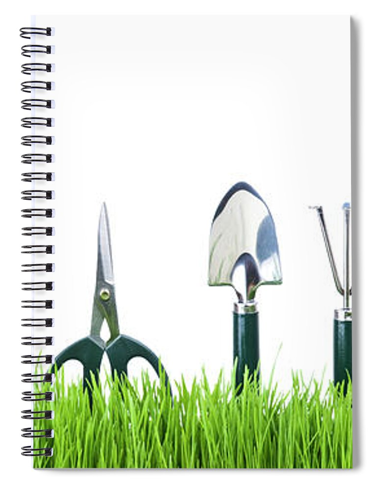 Grass Spiral Notebook featuring the photograph Garden Tools by Liliboas