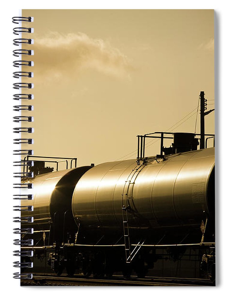 Natural Gas Spiral Notebook featuring the photograph Gasoline Train At Sunset by Halbergman