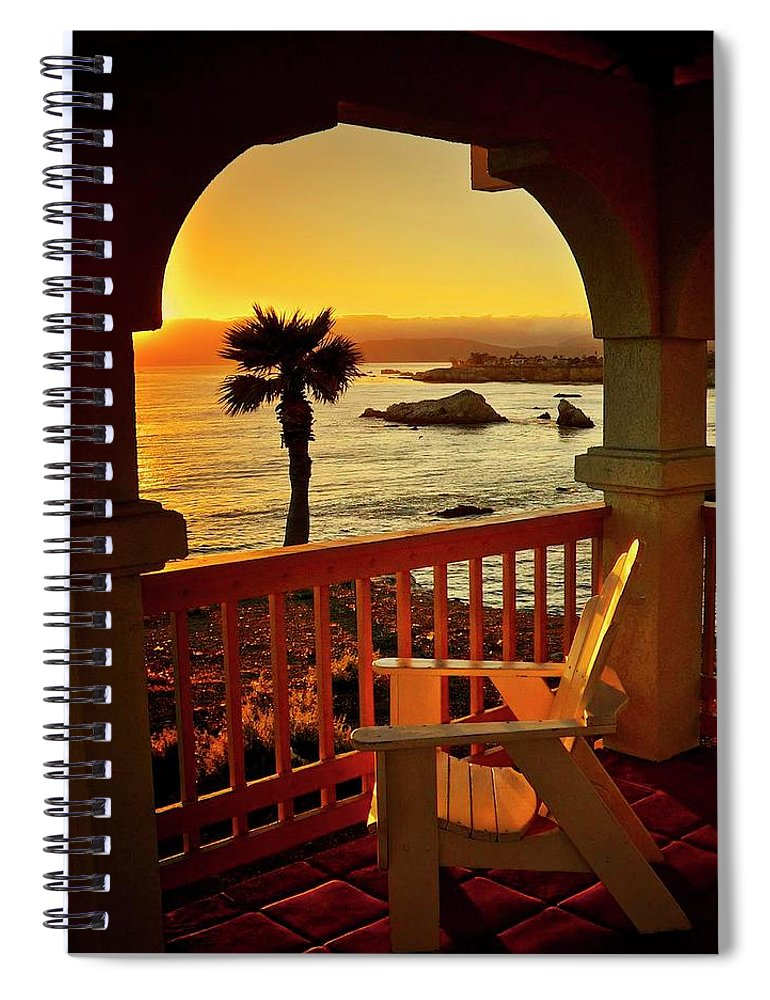 Nature Spiral Notebook featuring the photograph Gazebo View of Central California Coast by Zayne Diamond Photographic