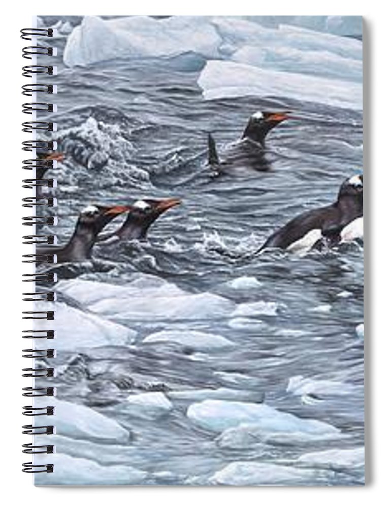 Paintings Spiral Notebook featuring the painting Gentoo Penguins By Alan M Hunt by Alan M Hunt