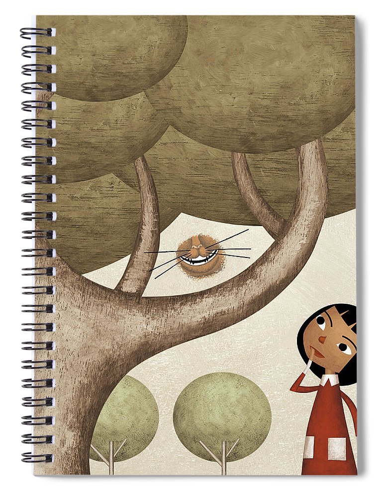 Three Quarter Length Spiral Notebook featuring the photograph Girl And The Cats Smile by Carlos Cubeiro
