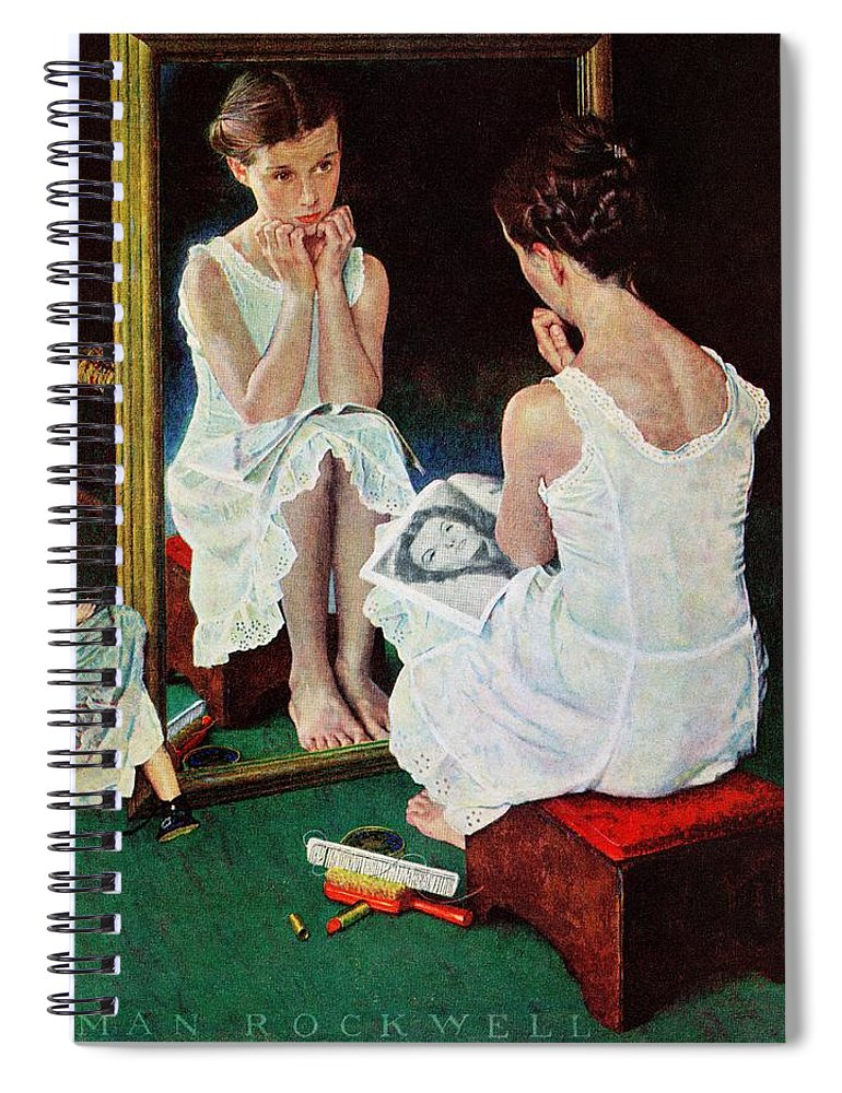 Actresses Spiral Notebook featuring the drawing Girl At The Mirror by Norman Rockwell