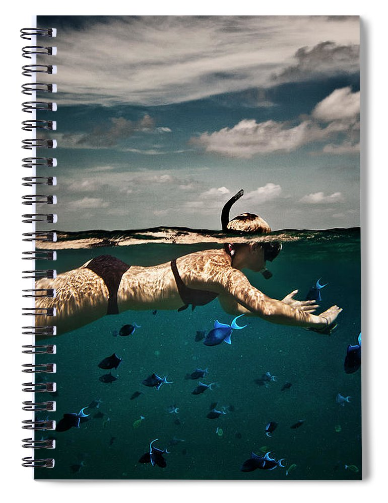 People Spiral Notebook featuring the photograph Girl Snorkelling In Indian Ocean by Rjw