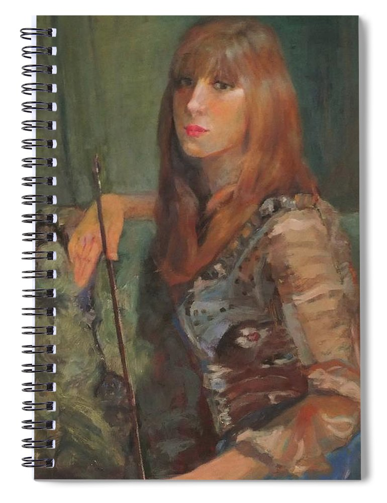 Girl Spiral Notebook featuring the painting Girl With Bow by Irena Jablonski