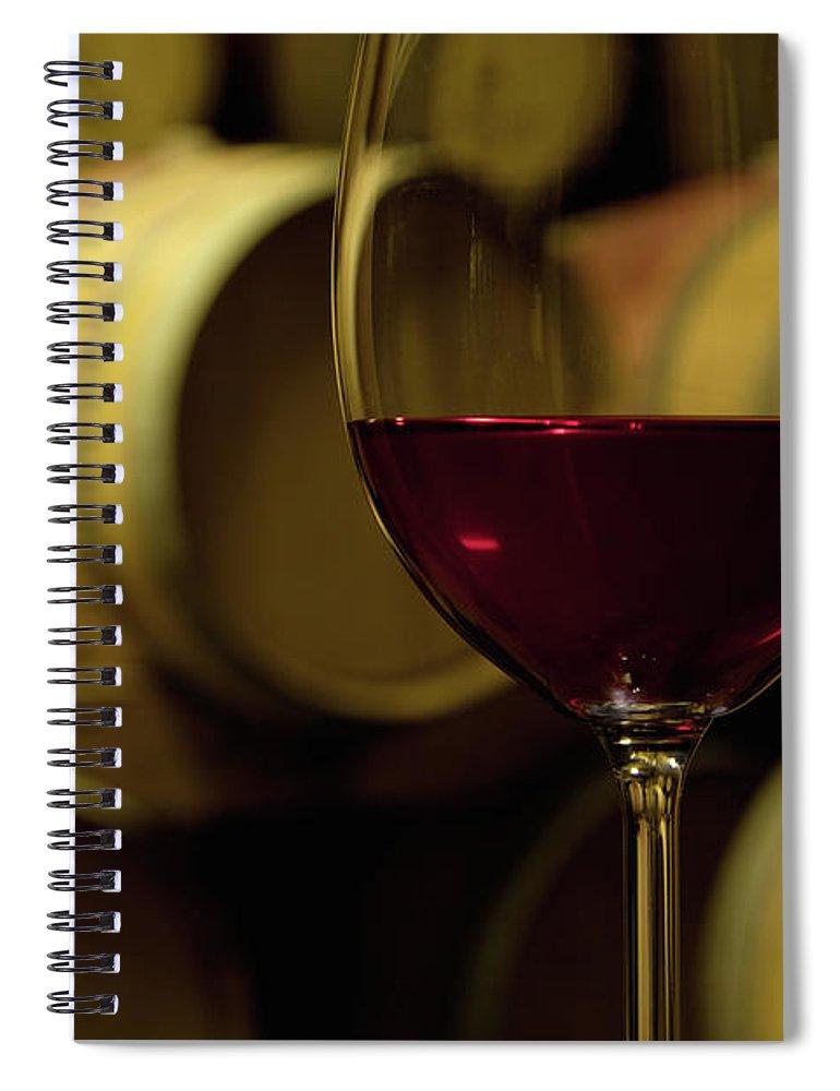 Stellenbosch Spiral Notebook featuring the photograph Glass Of Red Wine In Wine Cellar by Siegfried Layda
