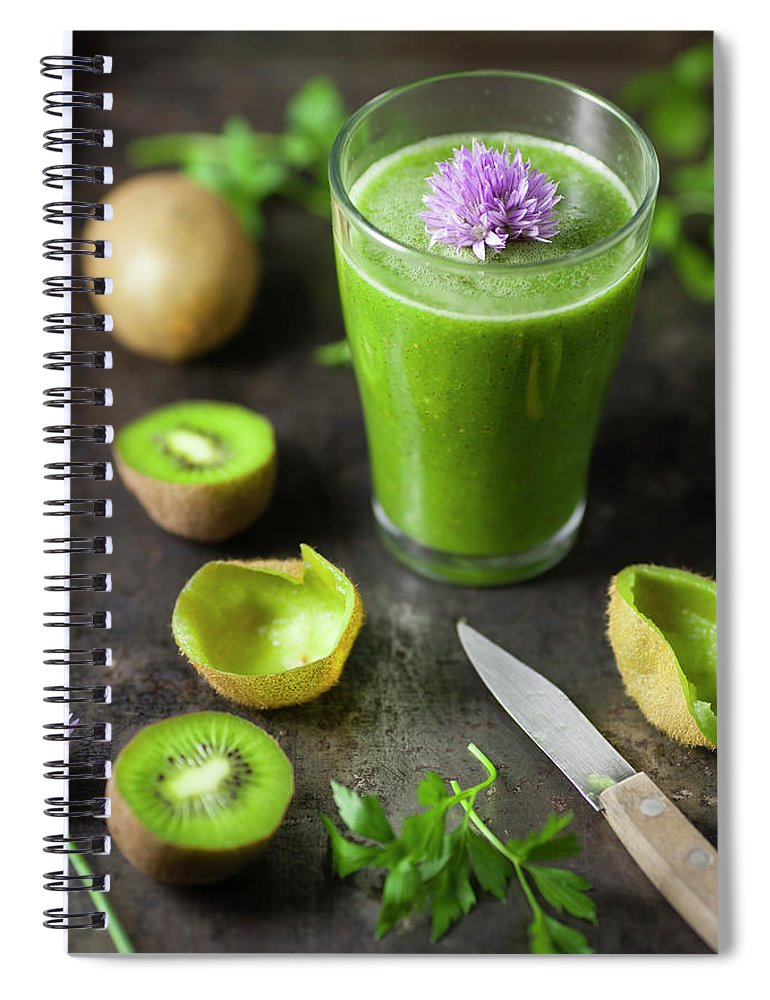 Cutting Board Spiral Notebook featuring the photograph Glass Of Smoothie With Kiwi, Parsley by Westend61