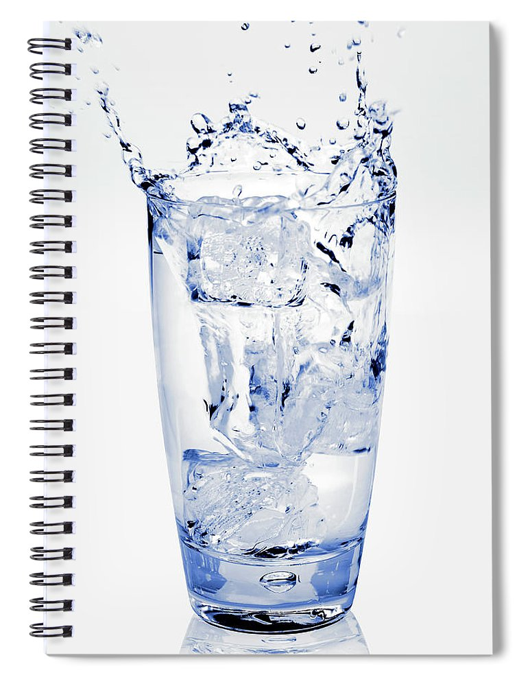 White Background Spiral Notebook featuring the photograph Glass Of Water Splashing Around by Maria Toutoudaki
