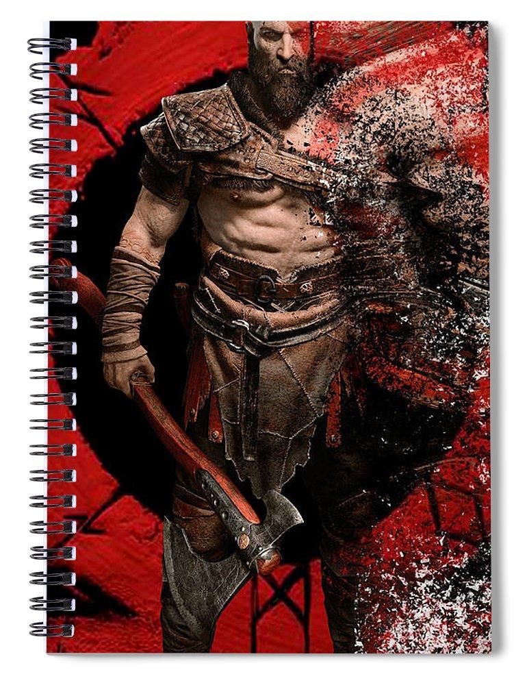 God Of War Spiral Notebook featuring the digital art God Of War by Geek N Rock