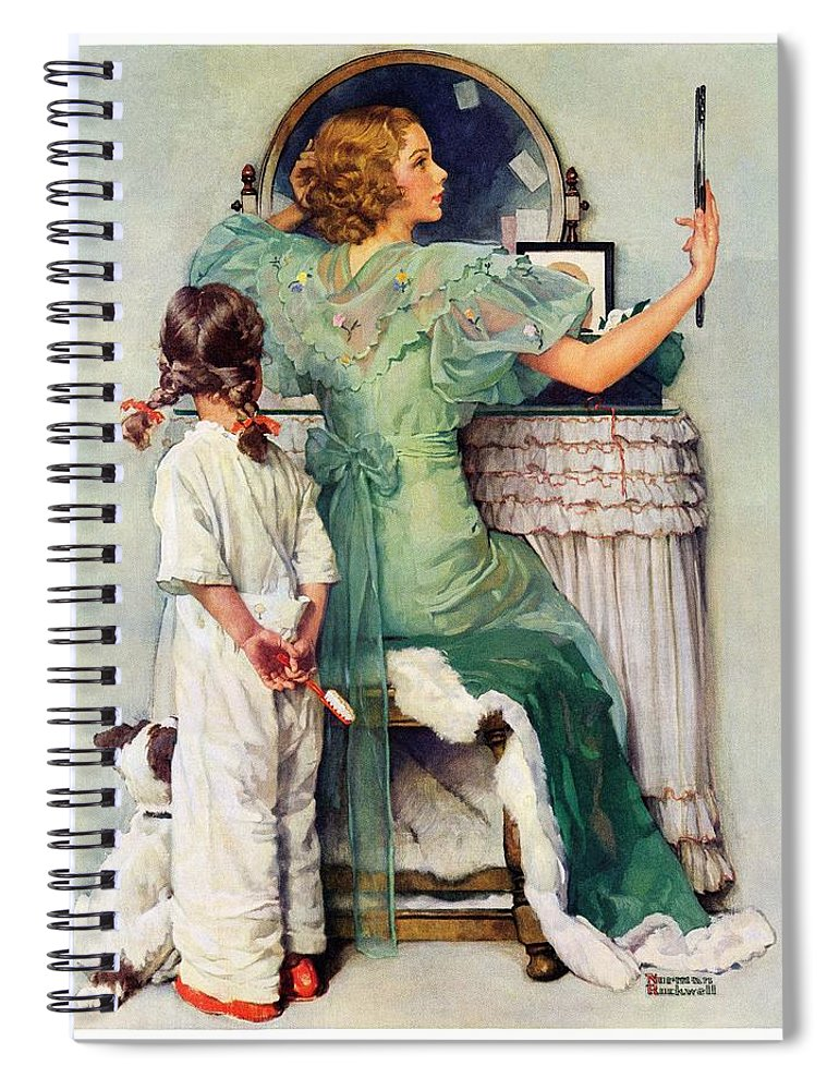 Dressing Tables Spiral Notebook featuring the drawing Going Out by Norman Rockwell
