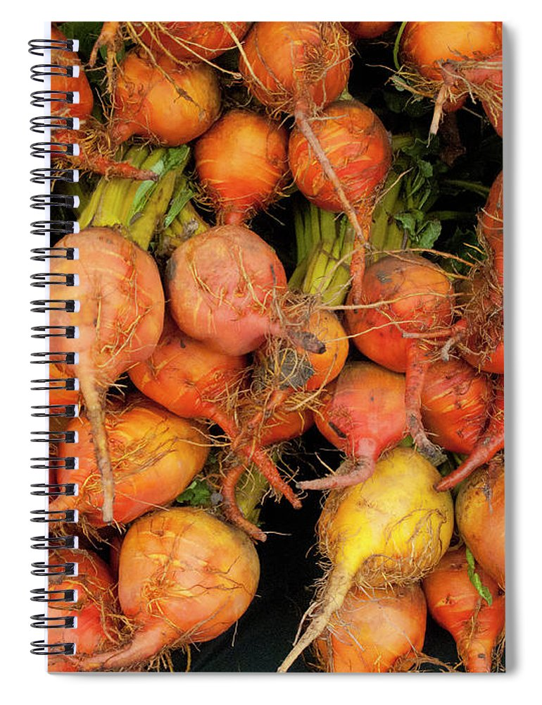 Orange Color Spiral Notebook featuring the photograph Golden Beets At A Farmers Market by Bill Boch