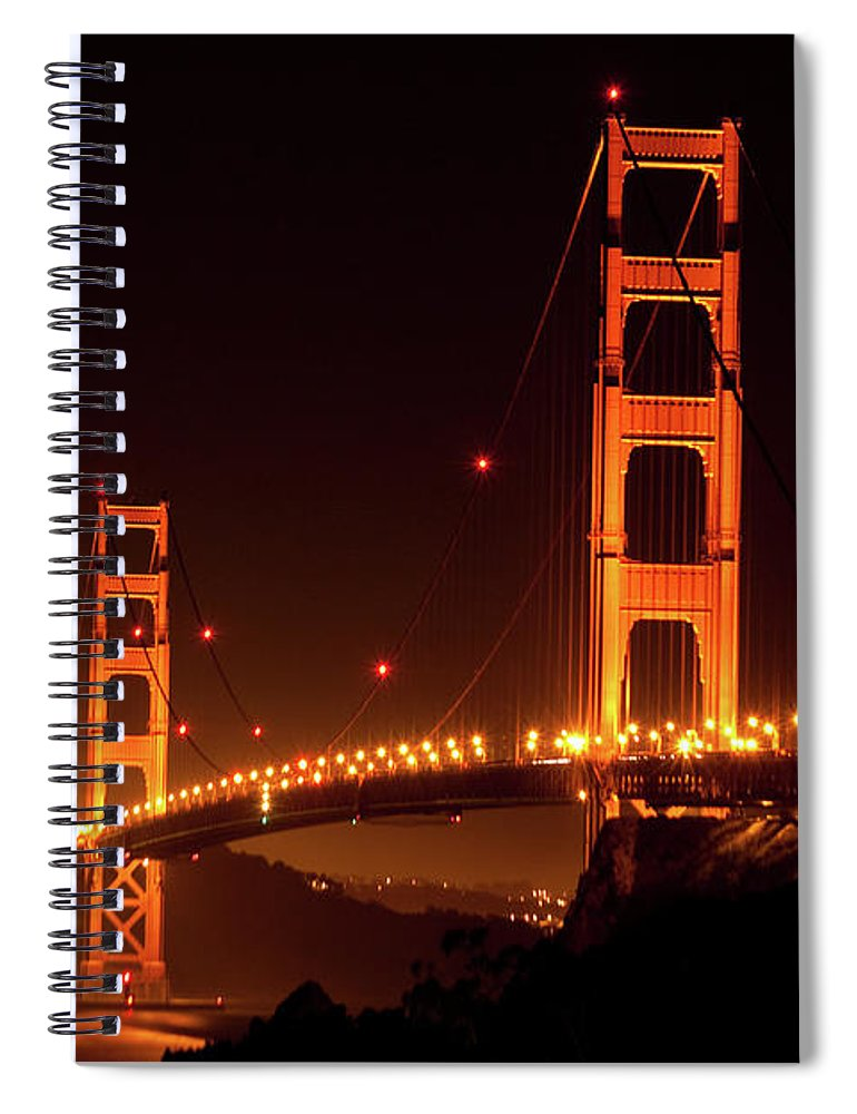 Scenics Spiral Notebook featuring the photograph Golden Gate Bridge At Night by Imaginegolf