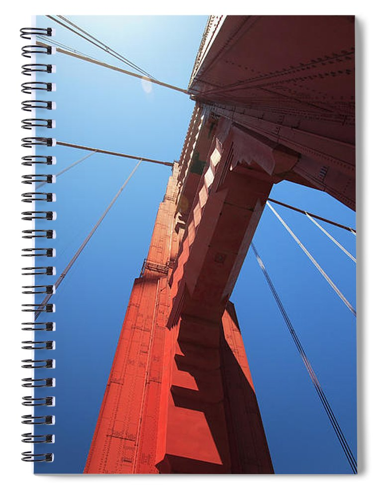San Francisco Spiral Notebook featuring the photograph Golden Gate Bridge Tower by Mortonphotographic
