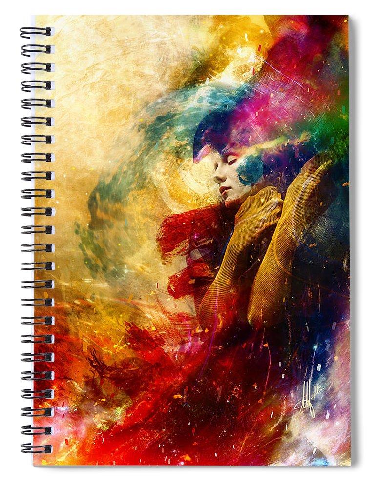 Surreal Spiral Notebook featuring the digital art Golden Gloom by Mario Sanchez Nevado