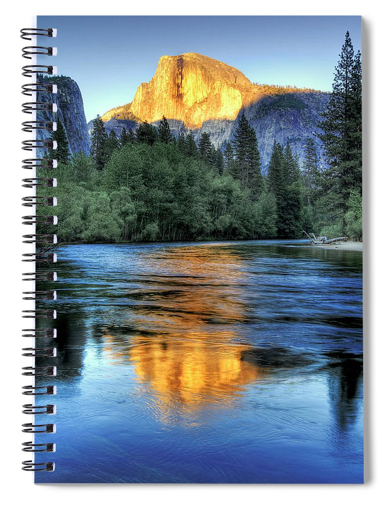 Scenics Spiral Notebook featuring the photograph Golden Light On Half Dome by Mimi Ditchie Photography