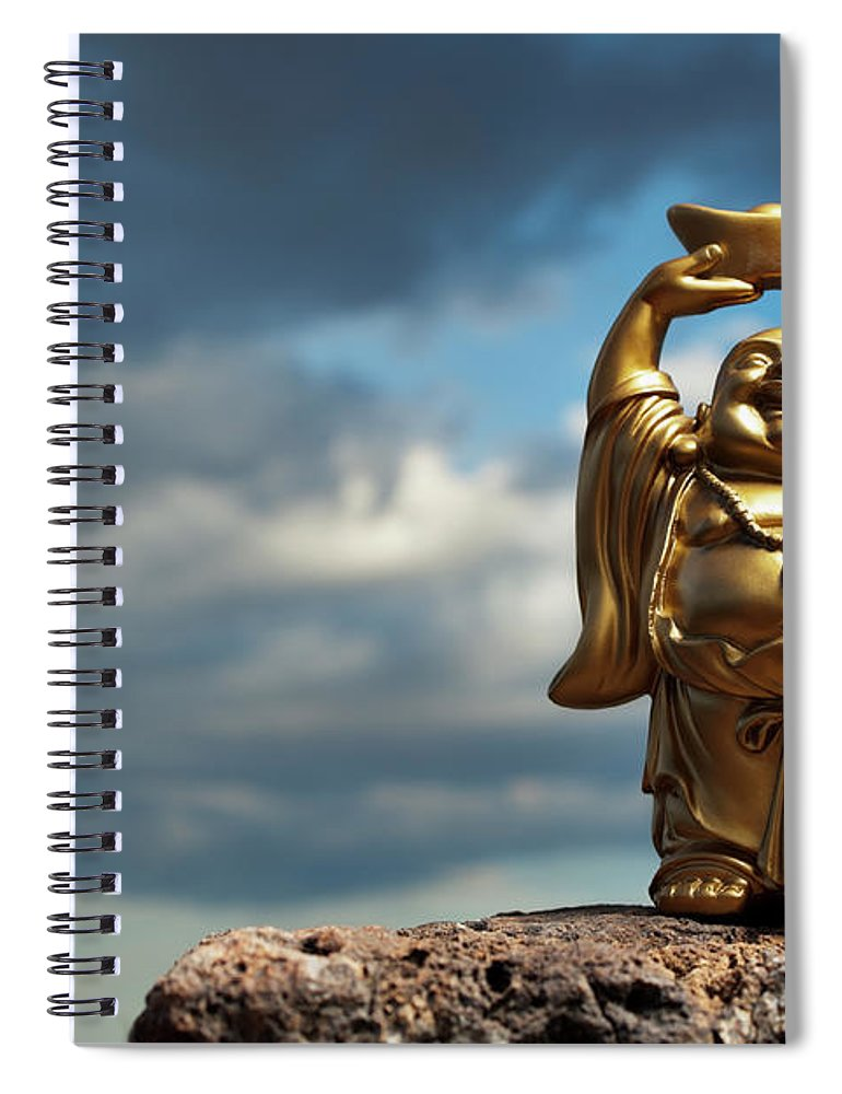 Chinese Culture Spiral Notebook featuring the photograph Golden Prosperity Buddha by Wesvandinter