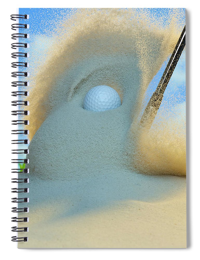 Drive Spiral Notebook featuring the photograph Golf Ball Being Driven Out Of A Sand by Don Farrall