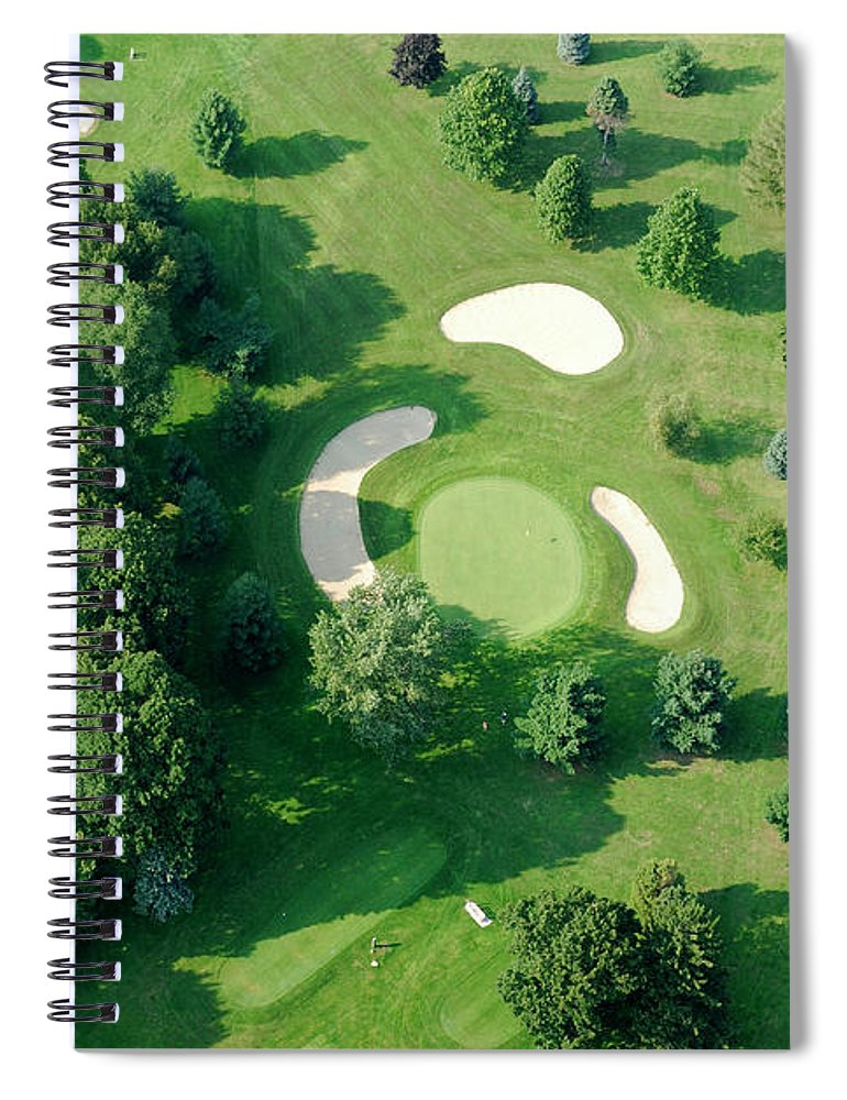 Sand Trap Spiral Notebook featuring the photograph Golf Course Close Up From The Air by Groveb