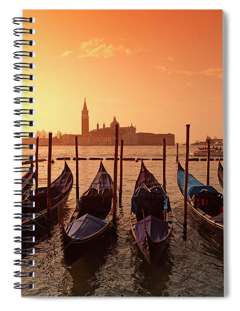 Scenics Spiral Notebook featuring the photograph Gondolas And Saint George Major In by Massimo Pizzotti