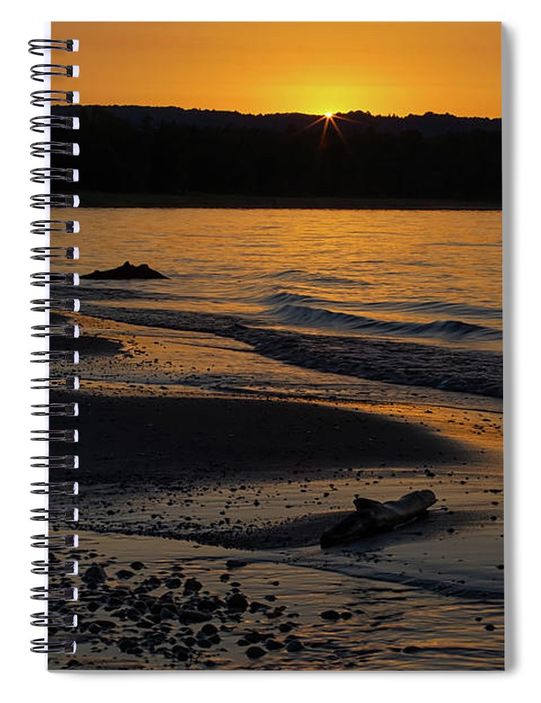 Sleeping Spiral Notebook featuring the photograph Good Harbor Bay Sunset by Heather Kenward