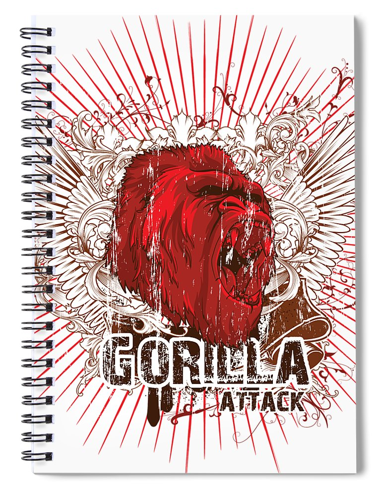 Animal Spiral Notebook featuring the digital art Gorilla Attack by Passion Loft