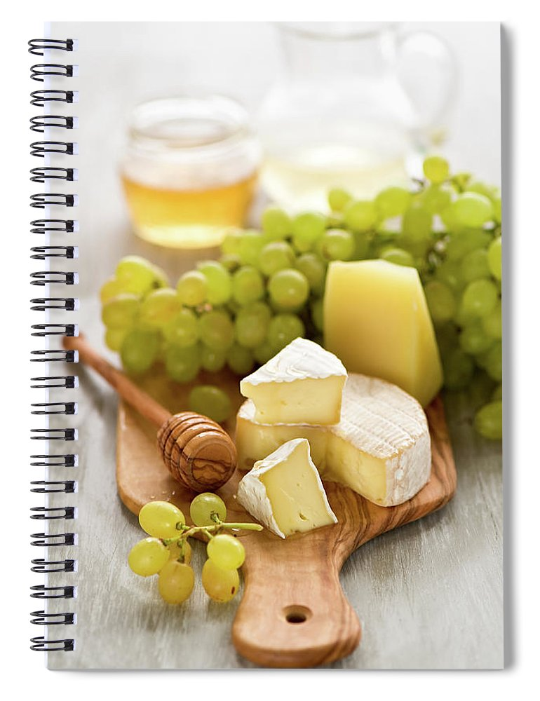 Cheese Spiral Notebook featuring the photograph Grape, Honey And Cheese by Verdina Anna