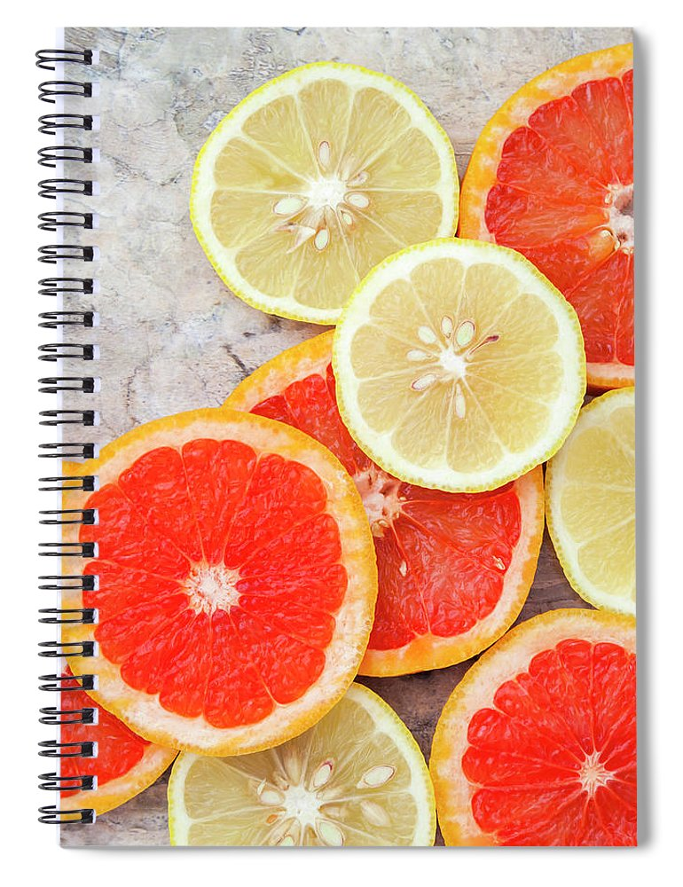 Rosario Spiral Notebook featuring the photograph Grapefruit And Lemon by Flavia Morlachetti