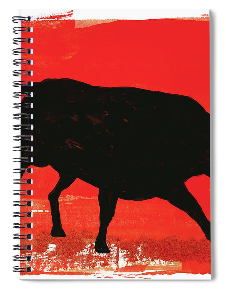 Bull Market Spiral Notebook featuring the digital art Graphic Bull Illustration by Don Bishop