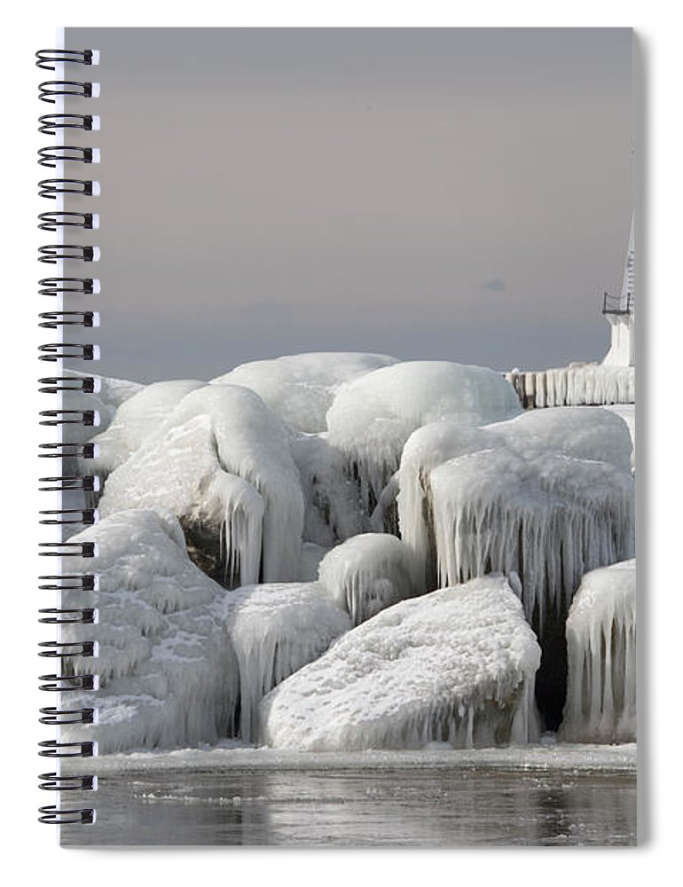 Water's Edge Spiral Notebook featuring the photograph Great Lakes Lighthouse With Ice Covered by Jskiba