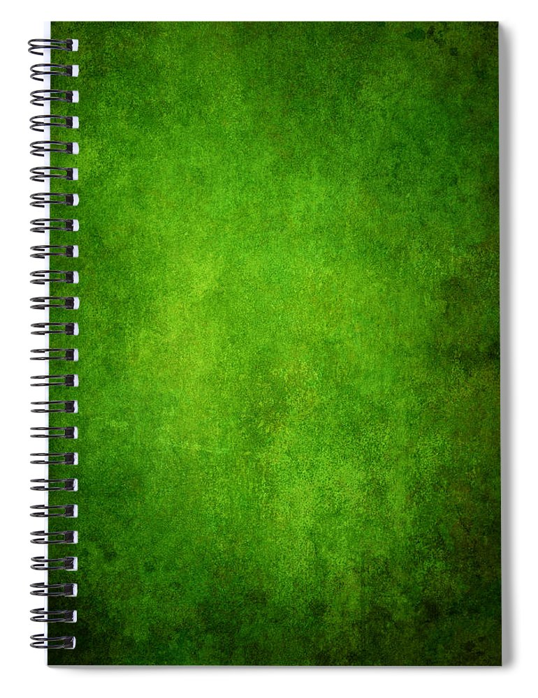 Stained Spiral Notebook featuring the photograph Green Grunge Background by Mammuth