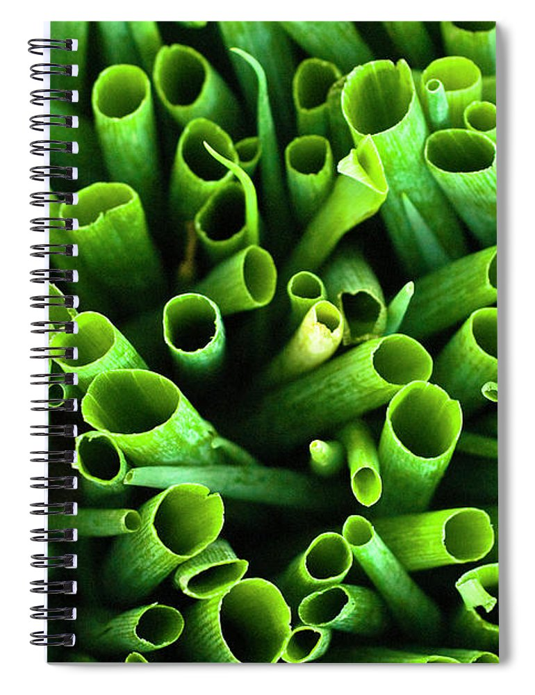 Large Group Of Objects Spiral Notebook featuring the photograph Green Onions by By Ken Ilio