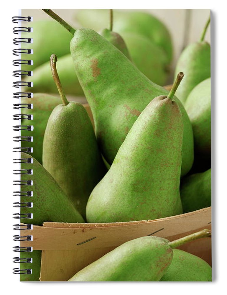 Fruit Carton Spiral Notebook featuring the photograph Green Pears In Punnet And Wooden Table by Chris Ted