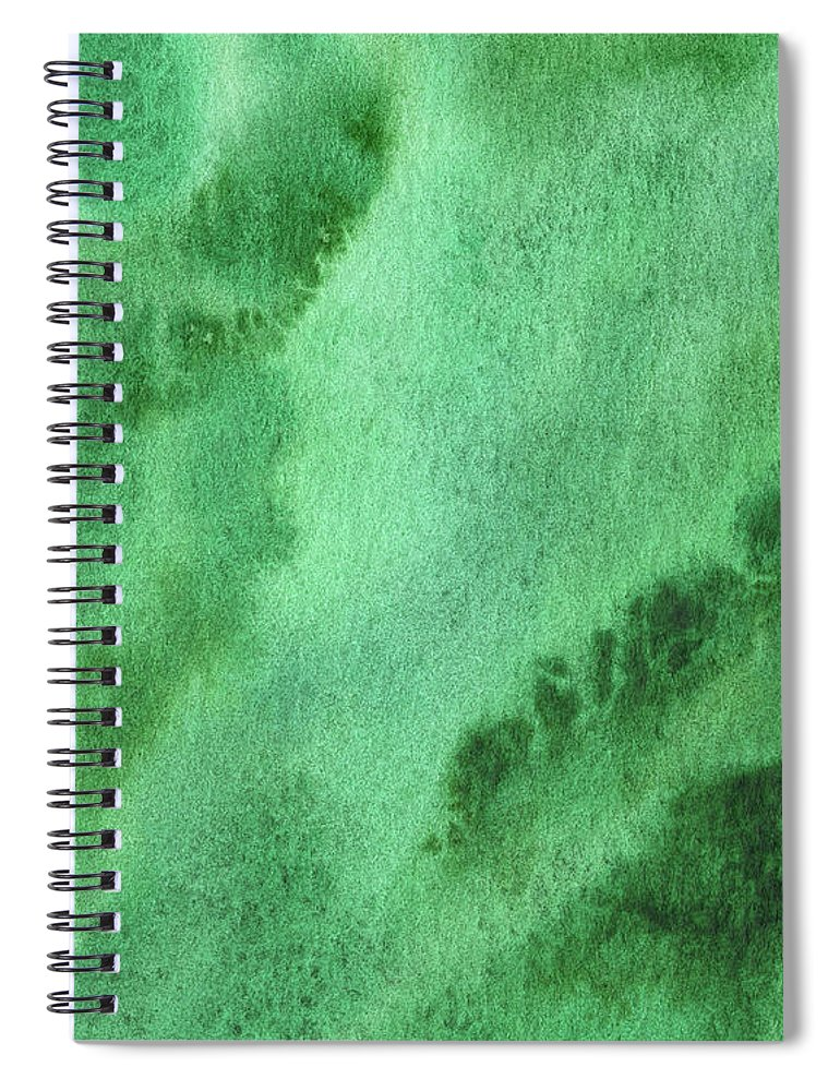 Abstract Spiral Notebook featuring the painting Green Splashes And Glow Abstract Watercolor by Irina Sztukowski