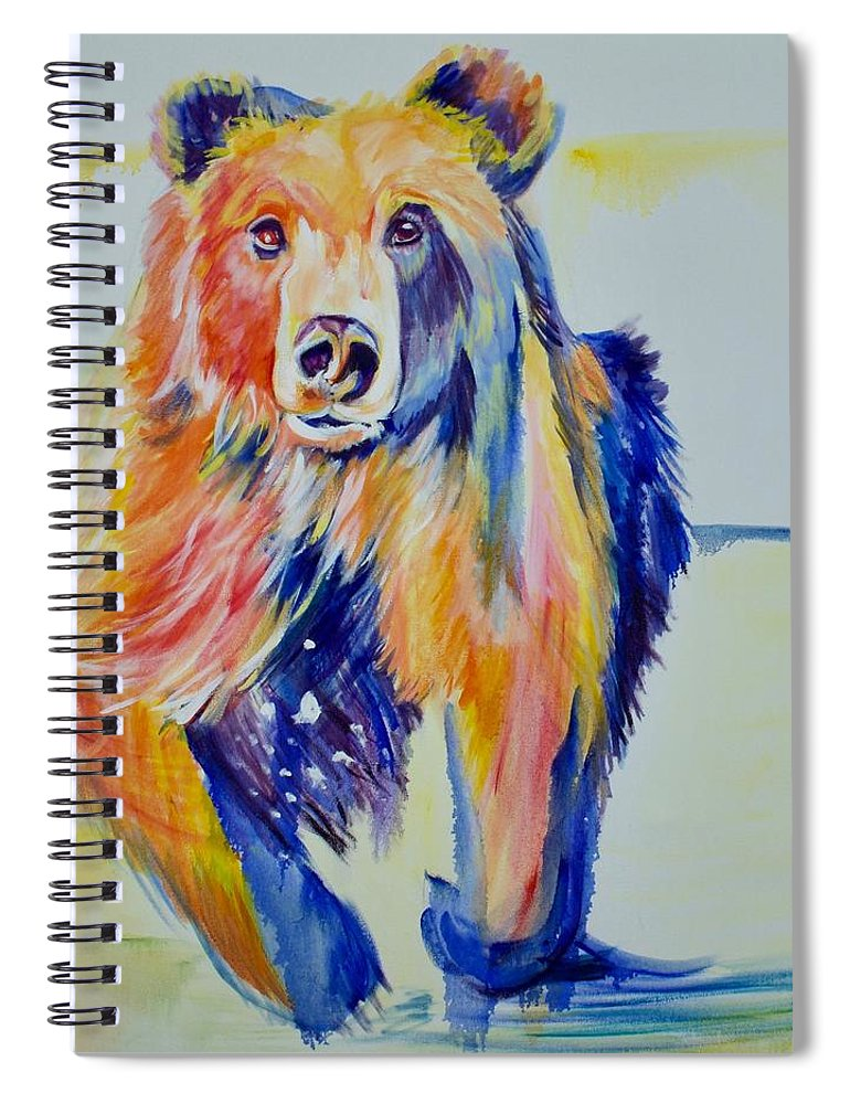 Original Spiral Notebook featuring the painting Grizzly Sprint by Nickie Perrin Paintings