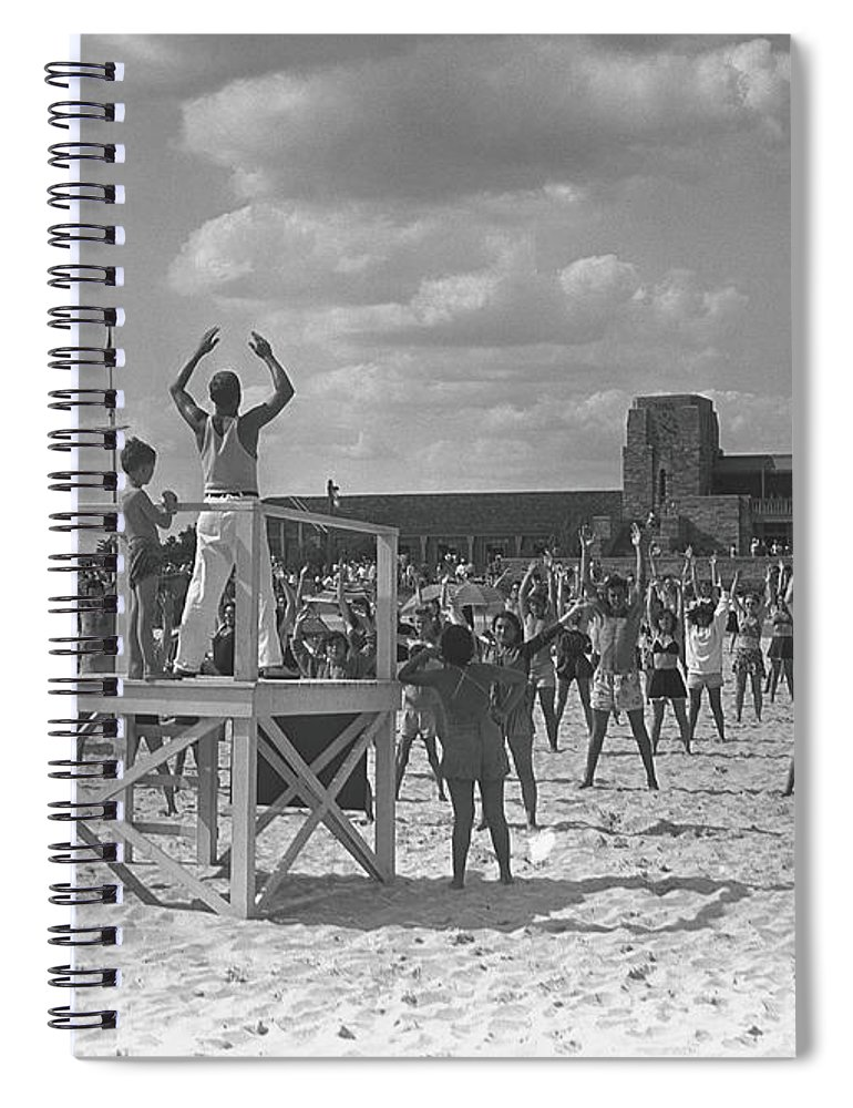 Human Arm Spiral Notebook featuring the photograph Group Of People Exercising On Beach, B&w by George Marks