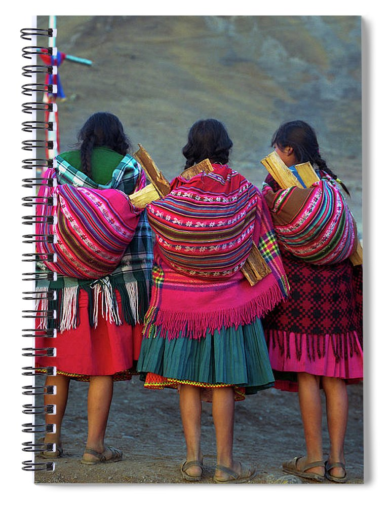 People Spiral Notebook featuring the photograph Group Of Peruvian Woman In Colorful by Linka A Odom