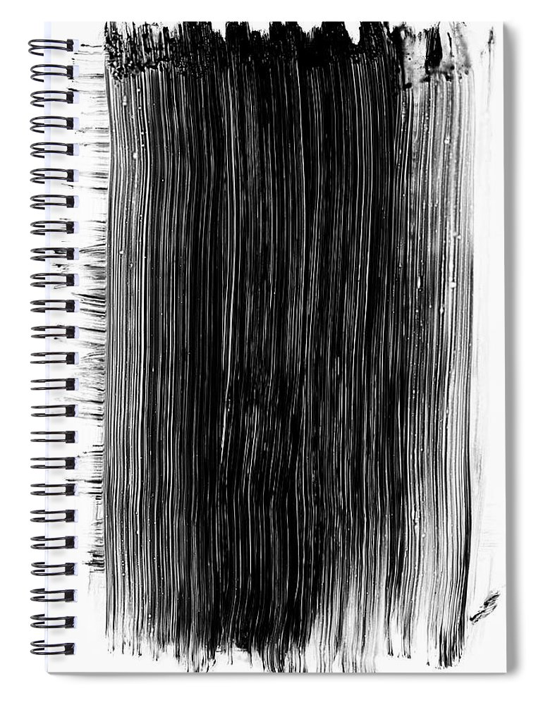 Art Spiral Notebook featuring the photograph Grunge Black Paint Brush Stroke by 77studio