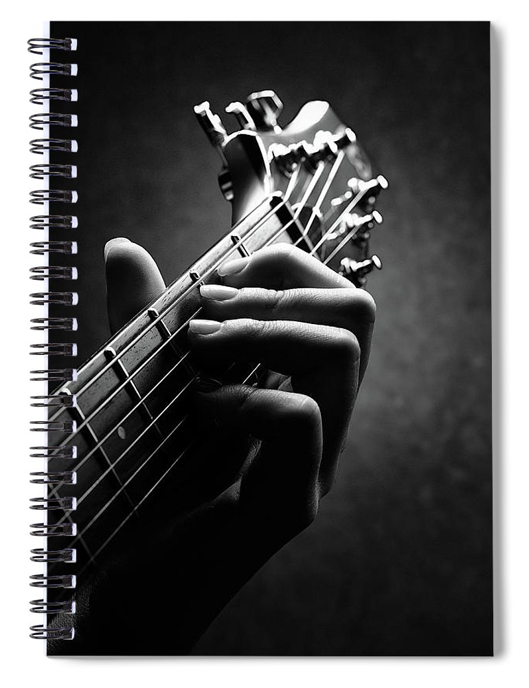 Guitar Spiral Notebook featuring the photograph Guitarist Hand Close-up by Johan Swanepoel