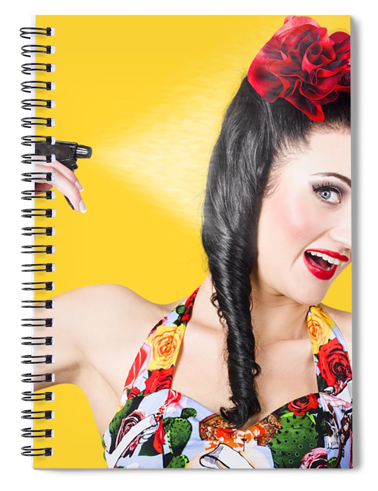 Hair Spiral Notebook featuring the photograph Haircare. Brunette Pinup Woman Using Hair Product by Jorgo Photography - Wall Art Gallery